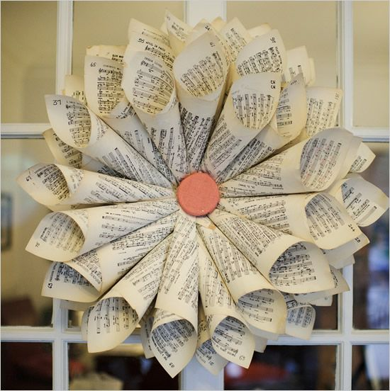 Flower made out of sheet music: Books Pages, Music Note, Sheet Music Flowers, Wedding Ideas, Music Theme, Music Wreaths, Paper Flowers, Music Rooms, Music Sheet