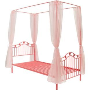 Best Buy Pink Hearts Metal 4 Poster Single Bed Frame At Argos 400 x 300