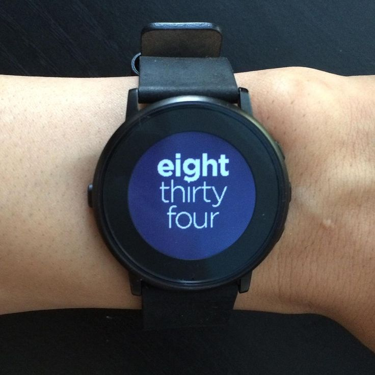 Sliding Text Pebble watch faces Developed by Pebble, this watchface displays the time in white text on a black background. It's simple enough to preserve your battery, but eye-catching enough to make a statement.