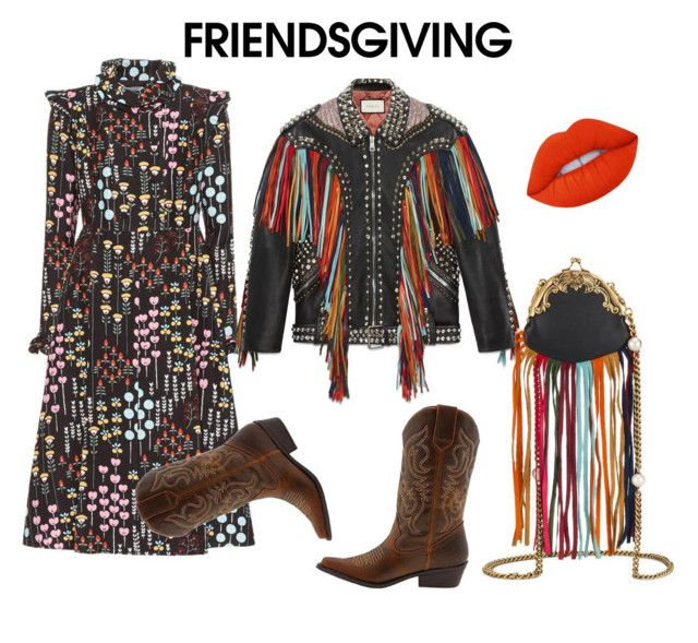 """""""Friends giving"""" by ralugoii on Polyvore featuring Valentino, Gucci, Lime Crime and friendsgiving"""