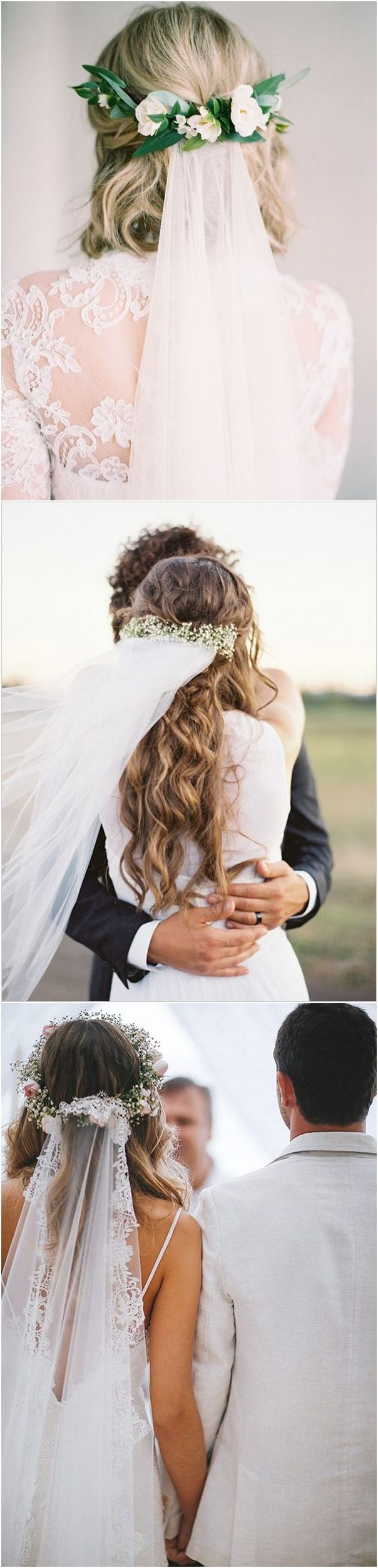 Wedding hairstyles with flower crown and veil #wedding #weddinghairstyles #bridalfashion