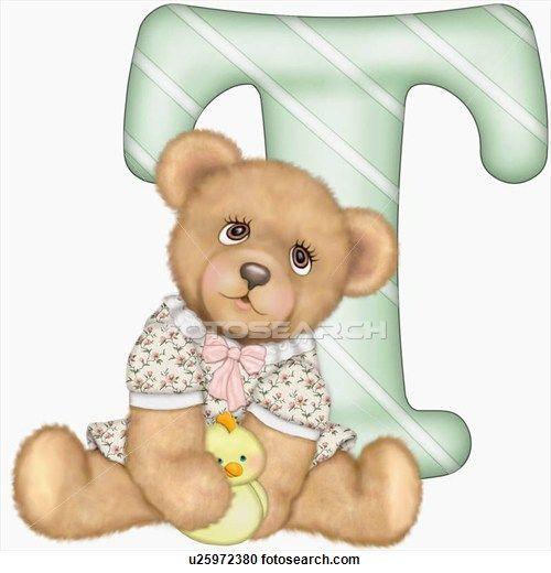 The capital letter T with teddy bear