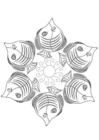 Coloriage mandala poisson mandala rangoli zen colorful drawings zen colors et color - Mandala colorier ...