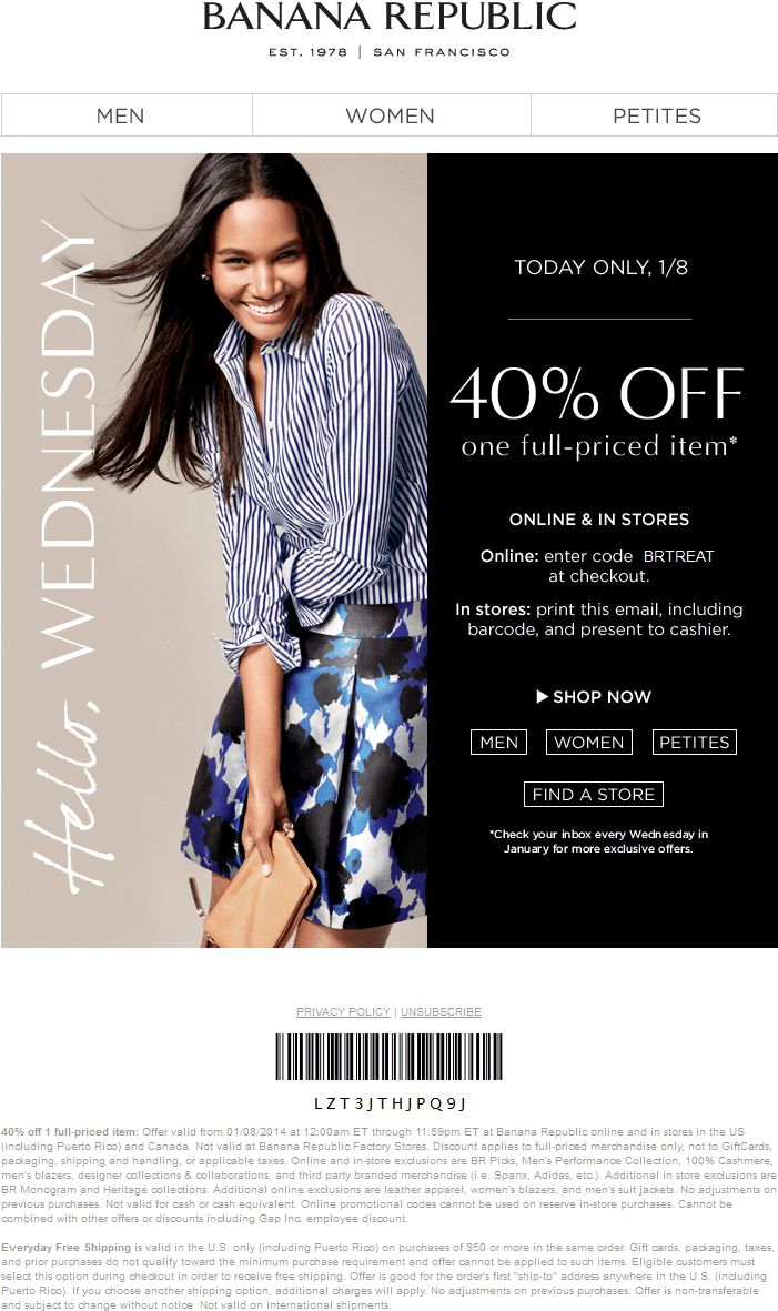 Pinned January 8th: 40% off a single item today at #BananaRepublic, or online via promo code BRTREAT #coupon via The Coupons App