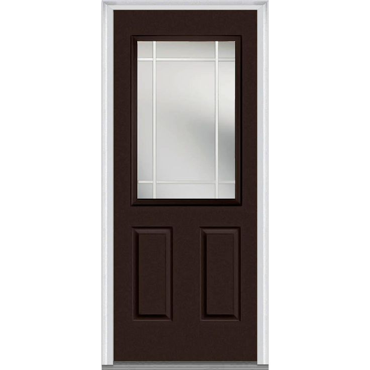 Milliken Millwork 37.5 in. x 81.75 in. Classic Clear Glass PIM 1/2-Lite Painted Fiberglass Smooth Exterior Door, Polished Mahogany