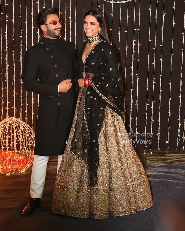 Priyanka Chopra And Nick Jonas Wedding Reception Ranveer Singh Deepika Padukone Deepika In Sabyas Indian Reception Outfit Indian Bridal Sabyasachi Bridal