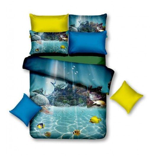 Kvalitné posteľné obliečky modrej farby podmorský svet