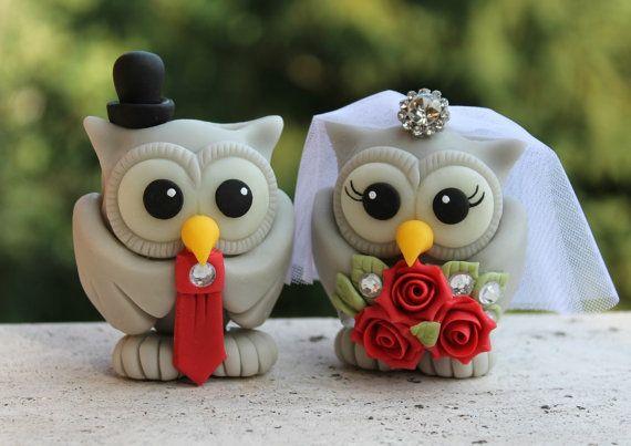 Custom wedding owl cake topper red wedding love by PerlillaPets