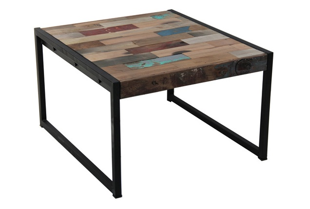 Treasured Interiors - Coffee Table (Square) - Industrial style with distressed wash finish. $499