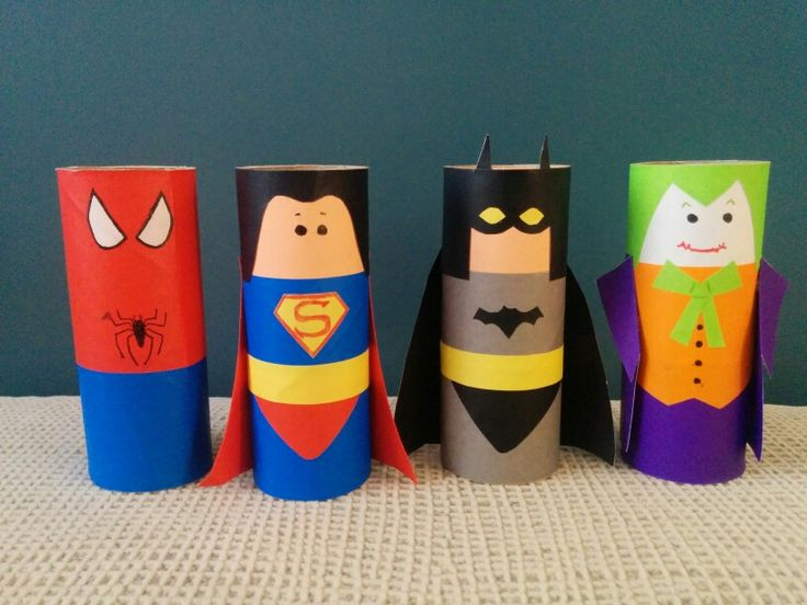 Paper roll Superheroes for my nephew