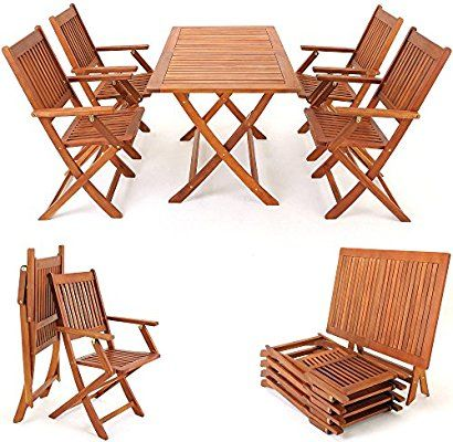"""Wooden Garden Furniture Set Patio Dining Table and Chairs Set """"Sydney"""" Made Of Tropical Solid Acacia Hardwood 4 Seater Outdoor: Amazon.co.uk: Garden & Outdoors"""