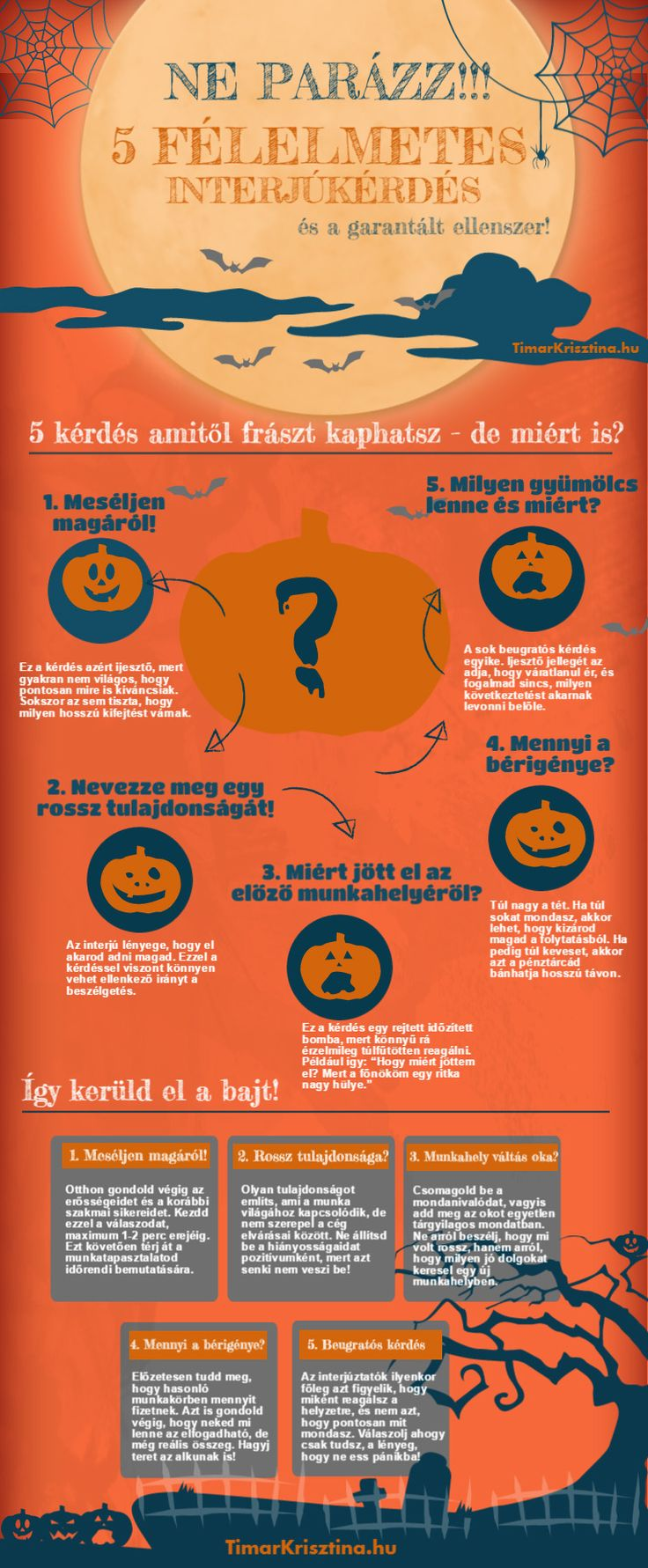 5 félelmetes interjúkérdés és a garantált ellenszerek!  #infografika #infographic #állásinterjú
