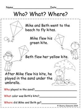 READING COMPREHENSION: WHO? WHAT? WHERE? - Great for introducing CLOSE READING - guided reading groups - kindergarten reading - first grade reading $