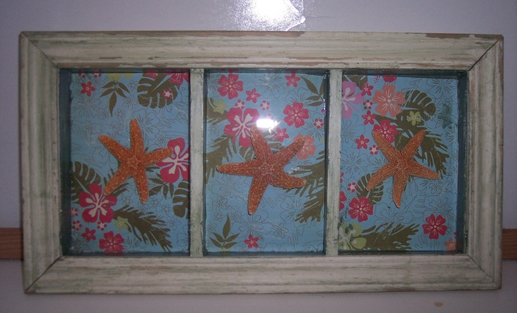 Coastal Home Decor Dancing Starfish Tropical Shadow Box with Chippy White and Green Paint Wall Decor Coastal Inspired. $26.00, via Etsy.