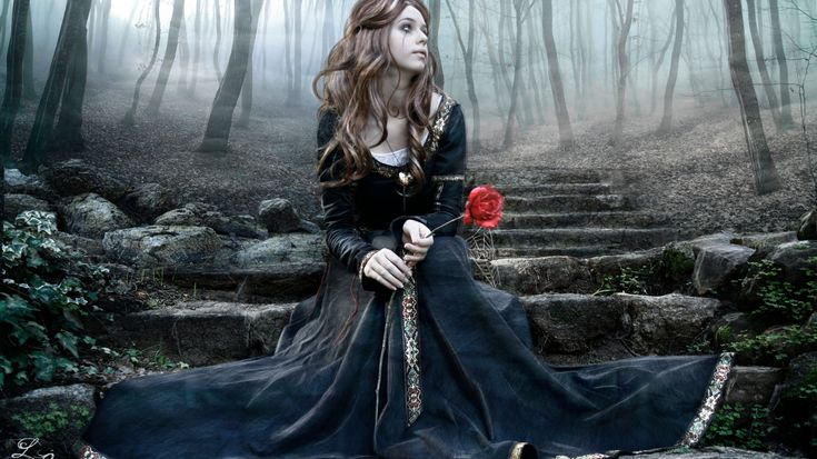 1366x768 Wallpaper girl, rose, steps, dress, tears, ink