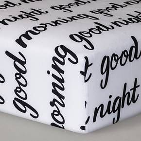 Let your little one's crib bedding inspire sweet dreams at bedtime and a bright, beautiful day in the morning when they fall asleep and wake up on the Good Morning/Good Night Fitted Crib Sheet from Cloud Island™. The black and white messages can complete a black and white themed nursery, or be a modern accent to a colorful nursery. Made of soft cotton and OEKO-TEX® certified, baby will love the feel of this sheet against their skin and you'll love that it's ...