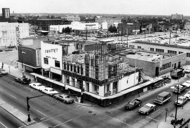 In April 1982, preparations for construction of the Richmond Convention Center were underway along East Broad Street downtown. Among businesses that were torn down to accommodate the new facility were Swatty's Men's Shop and the Greyhound bus station.