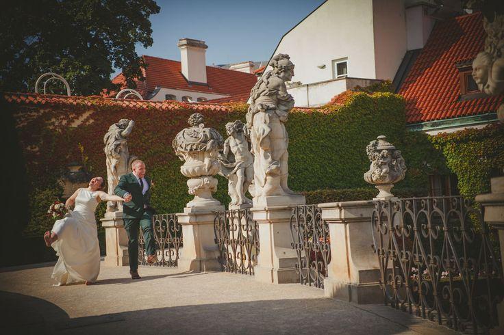 a couple from New Zealand have a run and a laugh at Prague's Vrtbovska Garden (Zahrada) www.KurtVinion.com