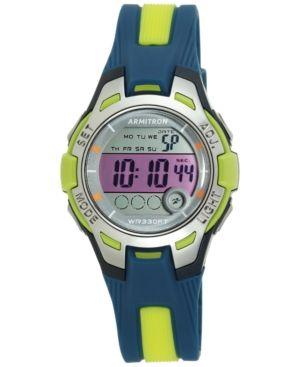 Armitron Women's Digital Navy and Light Green Strap Watch 35mm 45-7030NVLG - Blue