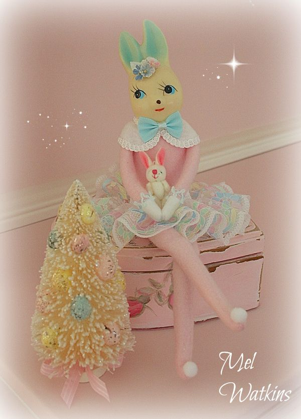 for sale vintage knee hugger bunny remade in pink with pastel lace skirt - Feldstein Kaminsimse
