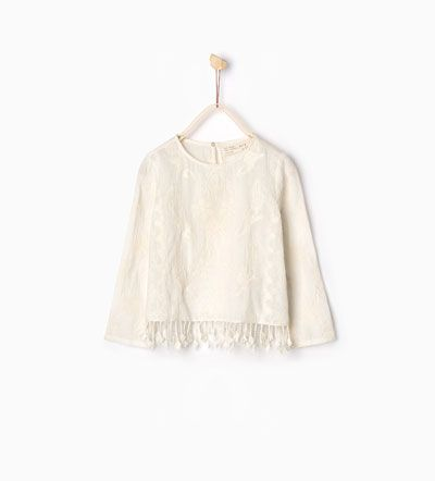 Fringed embroidered blouse-SHIRTS AND BLOUSES-GIRL | 4-14 years-KIDS | ZARA United States