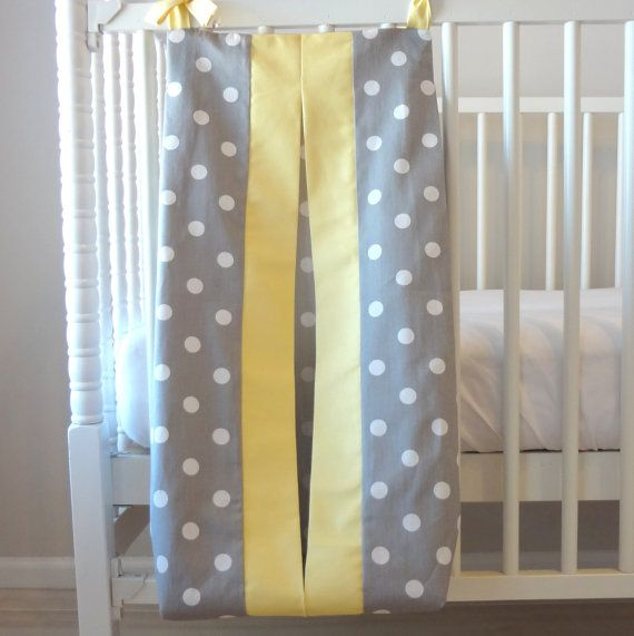 Gray and Yellow dot Custom Made Diaper Stacker by babymilanbedding