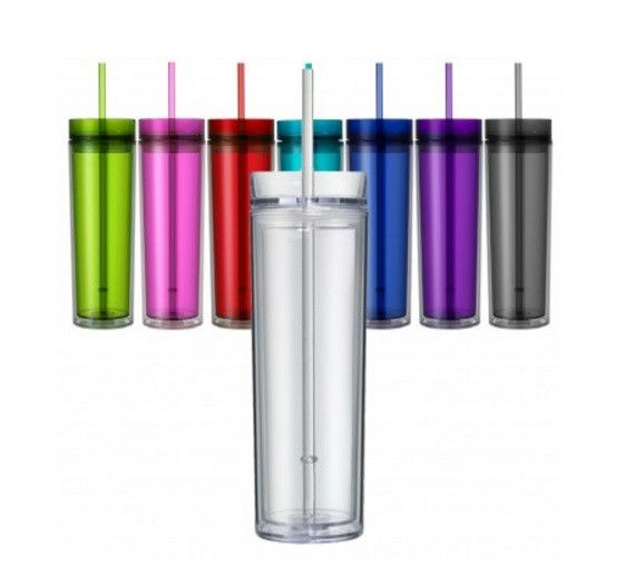 Skinny Tumbler - 16 Ounce Skinny Double Wall Tumbler - BPA Free Acrylic Tumbler