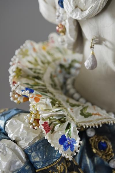 "Close up of painted paper, Medici-inspired dress by Isabelle de Borchgrave. From the 2011 exhibition, ""Pulp Fashion: The Art of Isabelle de Borchgrave"" at the Fine Arts Museums of San Francisco. (Photo: René Stoeltie) [2nd of three pins]"