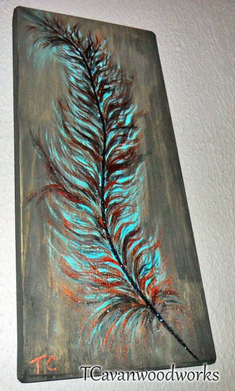 Feather Painting On Wood Turquoise Blue And Copper Metallic Acrylics Rustic Feather Wall Art