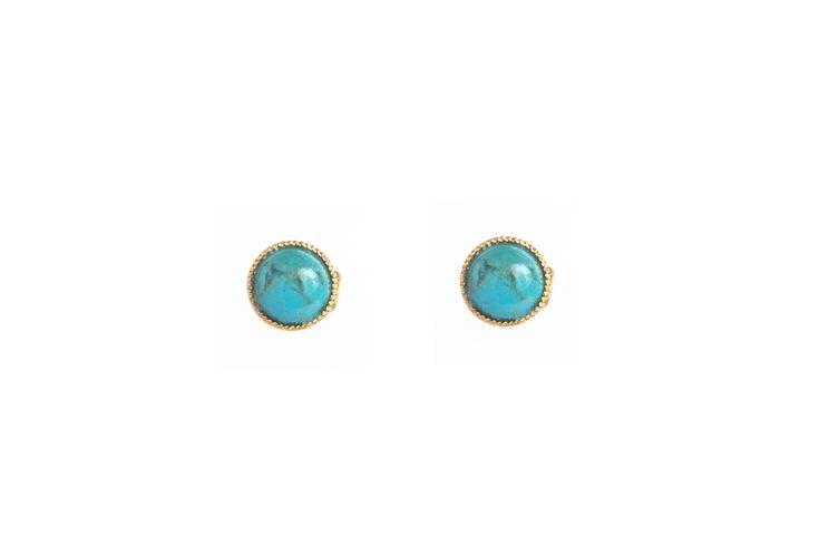 Puces d'oreilles turquoise Héra