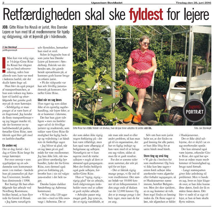 160628 Ugeavisen Bovbladet - Gitte Riise - Danske Lejere i Sønderborg