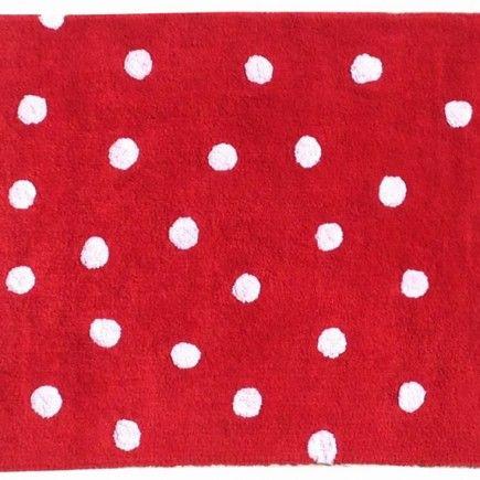 Lorena Canals – vloerkleed katoen kinderkamer Dots rood