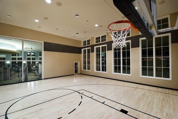 Basketball court inside house indoor basketball half for Personal basketball court