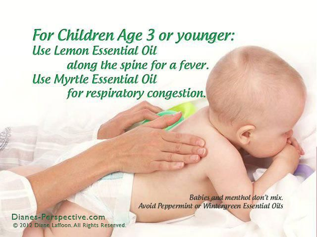 Use Lemon Essential Oil along the spine for a fever. Use Myrtle Essential Oil for respiratory congestion. And we ALWAYS use Young Living Oils!