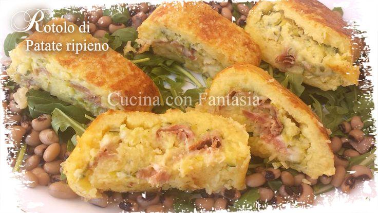 Rotolo di patate farcito con zucchine, prosciutto e mozzarella