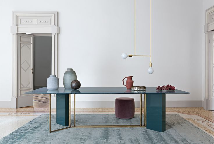 A brass base on the Plinto table collection by Italian brand Meridiani.