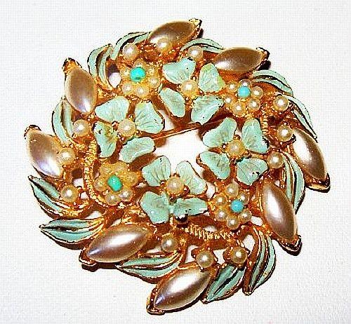 """Florenza Brooch Signed Pearl Cabochons & Aqua Blue Enamel Gold Metal Spiral Wreath 2"""" Vintage"""