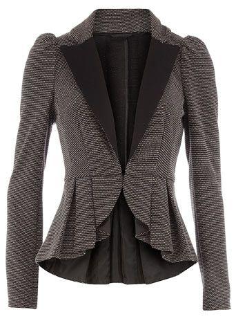 Grey textured peplum jacket - Workwear - Clothing - Dorothy Perkins United States