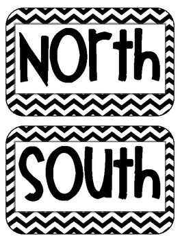 Cardinal Directions Signs Maps Geography black chevron {freebie}
