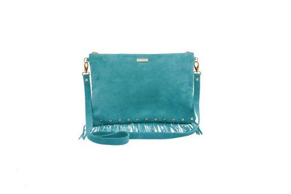 Fringe Leather Bag Turquoise suede crossbody fringe by MONAObags