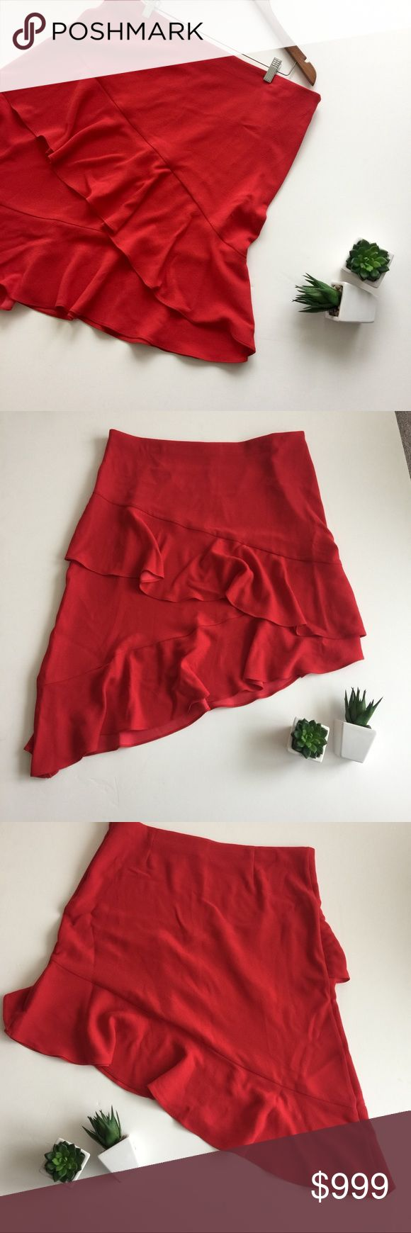 • A new day skirt • nwt • red • ruffled • high + low • side zipper • see pics for measurements A New Day Skirts High Low