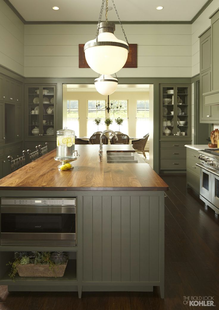 Sage Green Kitchens Featuring Milk Glass S Solid Slab Marble Counters And A