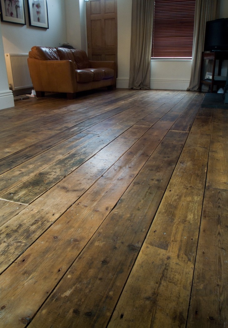 Reclaimed floorboards. I LOVE LOVE LOVE these floors!