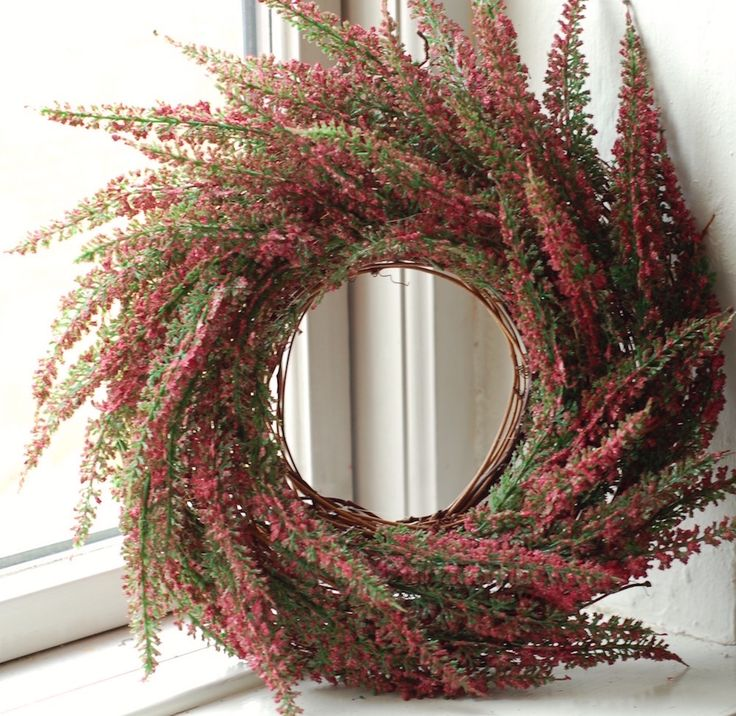 Heather+Wreath,+Burgundy, $55.00.Gorgeous rustic heather wreath in lavender blue.  15.75 inches in diameter