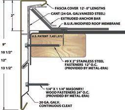 Fibertite Commercial Roof Edge Copings Gutters Accessories Metal Era Roof Edge Fascia Gutters