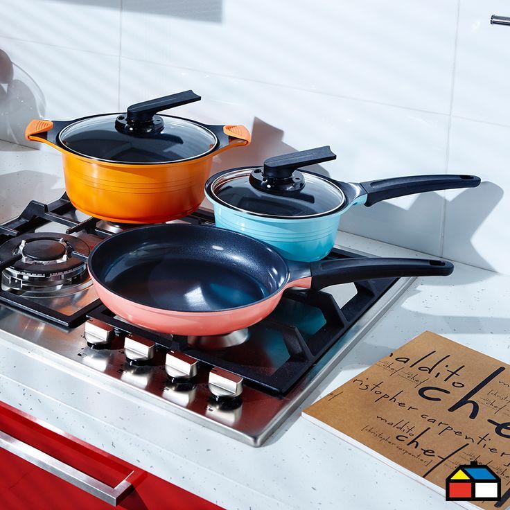 Esta batería traerá vida a tu cocina y evitará que tus comidas se peguen. #Cocina #Sodimac #Color #Bateria