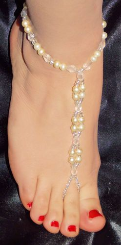 Hand Made Bridal Barefoot Sandal Beach Jewellery Anklet Foot Thong | eBay