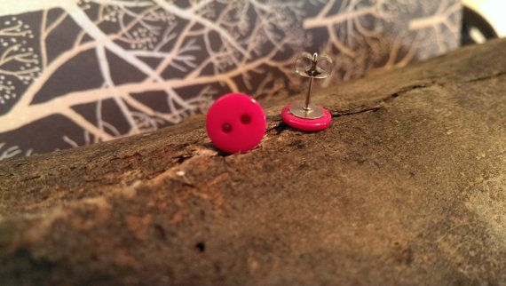 Pink Button Stud Earrings by LittleEmeraldButtons on Etsy, $8.50