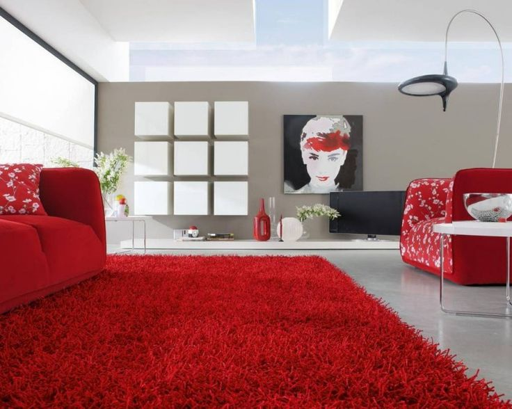 Interior Captivating Red Rug Carpet Modern Living Room Design Decorated With Sofa And