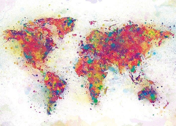 Världskarta Poster Färgstänk 100x140 cm
